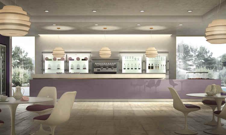Banco bar lineare con rivestito in legno molello Hi bar