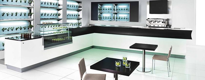 Banco bar cosmopolitan per un arredo dalle forme fluenti for Arredo bar dwg