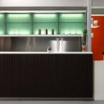 Banco bar moderno rivestito in legno teak serie My way