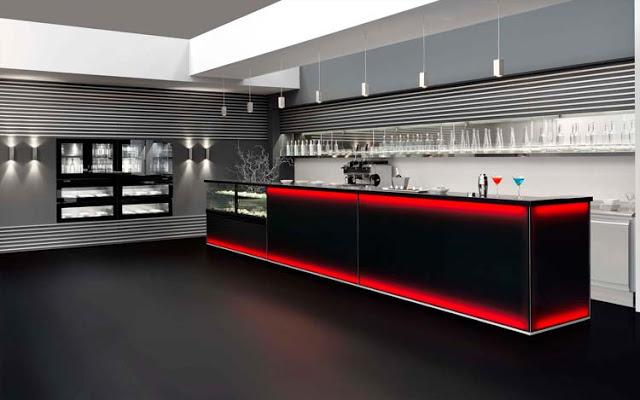 Luci per bar: arredamento bar. un ingresso di classe luci soffuse