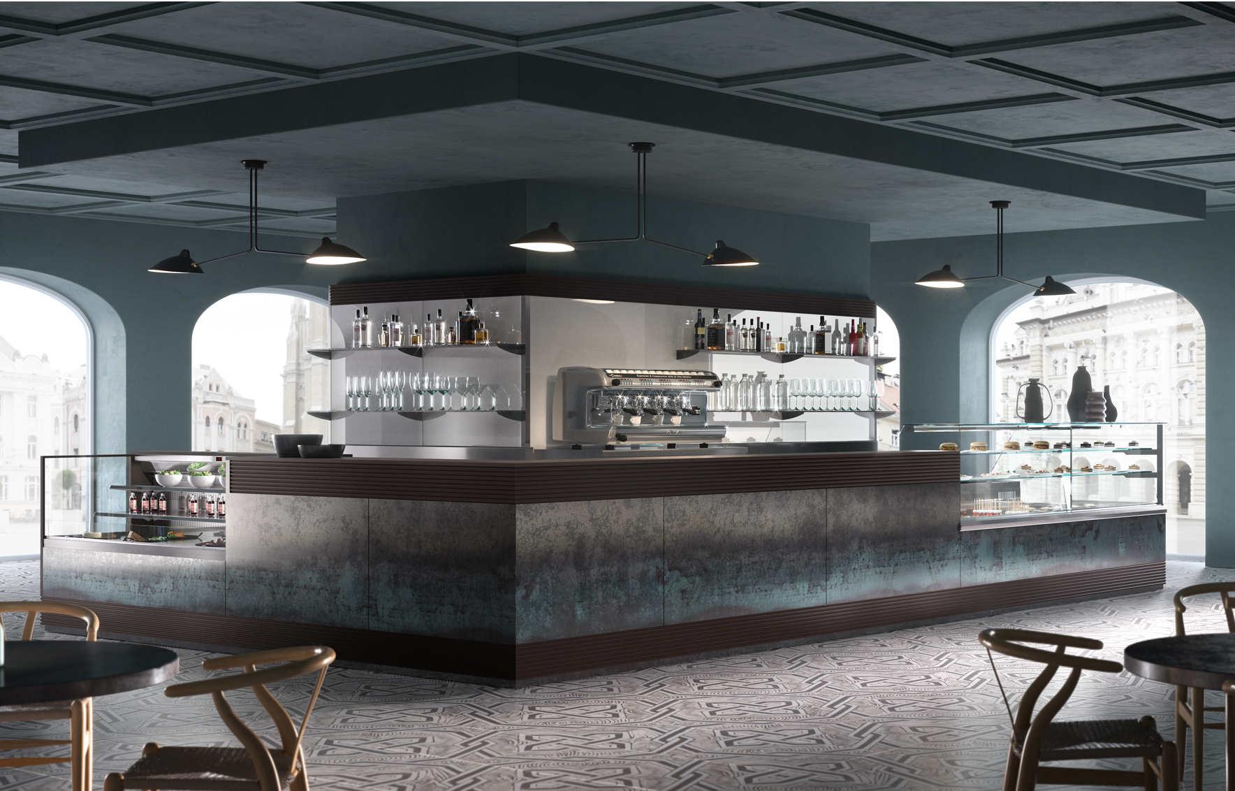 Bancone bar con rivestimento in Polyrey  dbanchibar