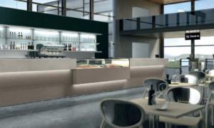 Bancone da bar con rivestimento in laminato Modello Manhattan