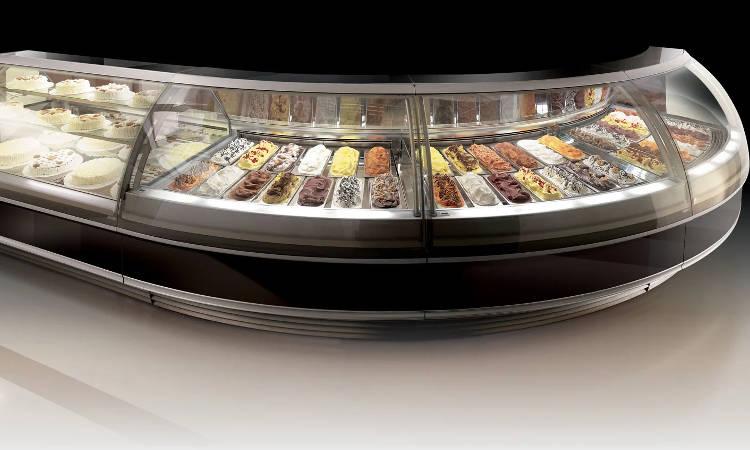 Prima, vetrina gelateria a vetri sferici